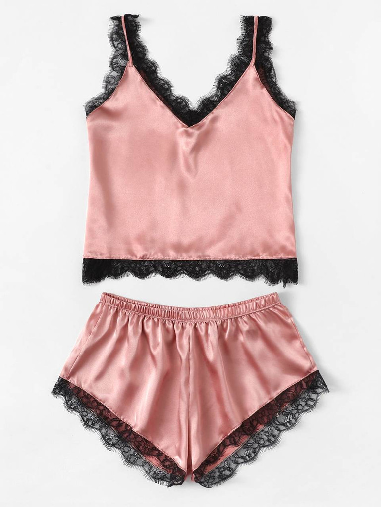 Fifth Avenue Women's NSS27 Lace Trim Tank Top and Shorts Satin Set - Pink