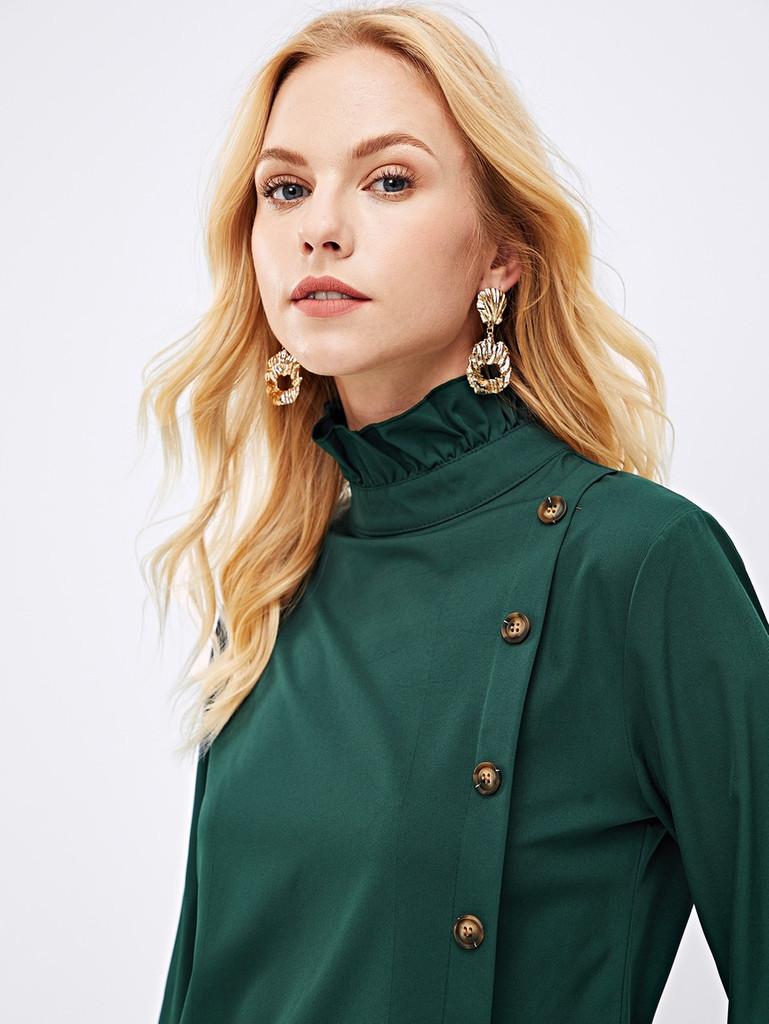 Fifth Avenue Women's UVA167 Button Up Ruffle Neck Blouse - Green