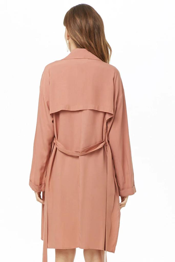 Fifth Avenue Women's RAPT26 Self Tie Fleece Coat - Pink