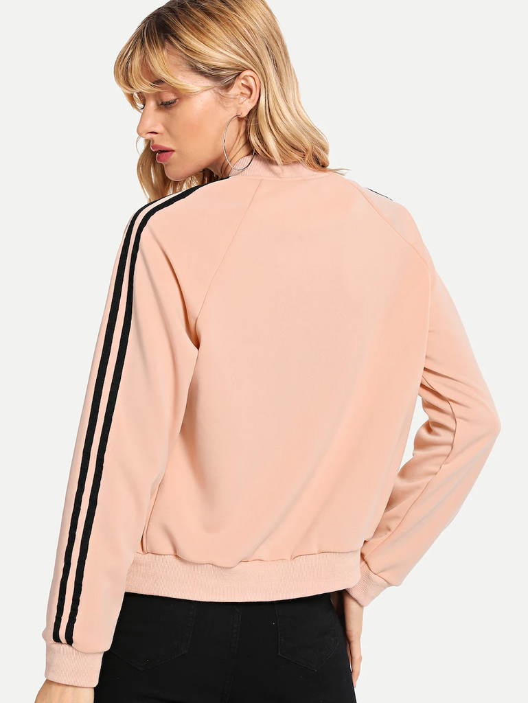 Fifth Avenue LNA1040 Women's Sleeve Striped Tape Bomber Jacket - Pink