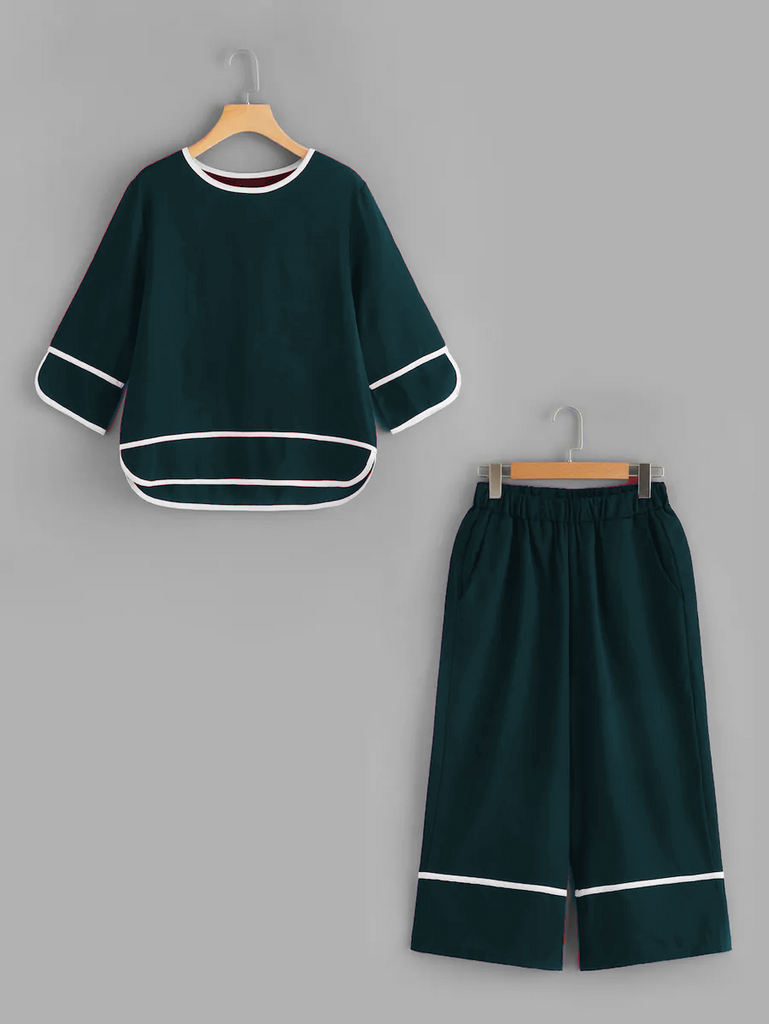 Fifth Avenue Contrast Binding Top and Culotte Pants 2 Piece Set TPS34 - Green