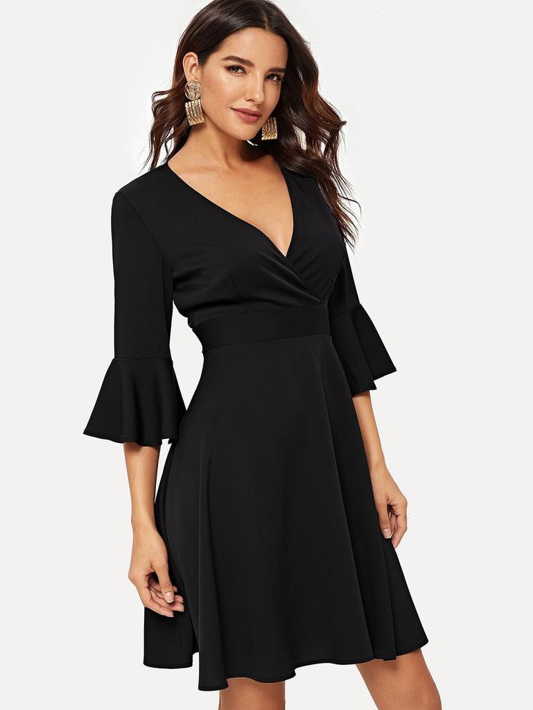 Fifth Avenue Women's UVA1220 Overlap Wrap Flounce Sleeve Dress Tunic - Black