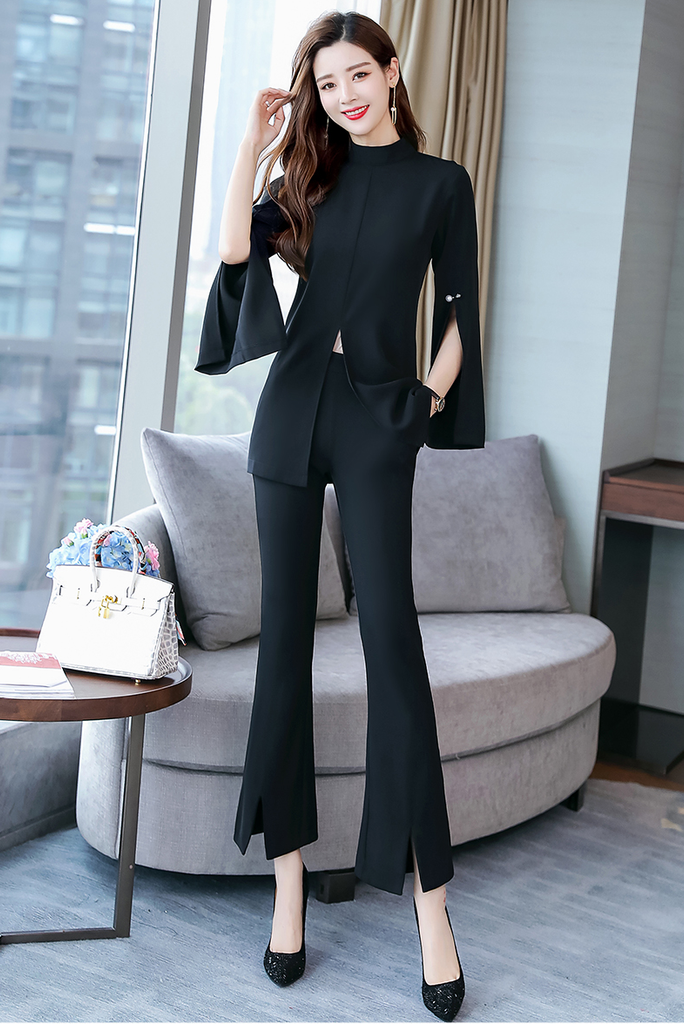 Fifth Avenue Split Sleeve and Pants 2 Piece Set TPS86 - Black