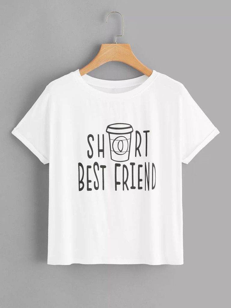 Fifth Avenue Tall and Short Best Friends Printed T-Shirt Set - White