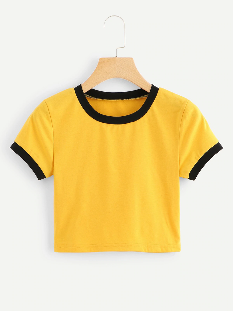 Fifth Avenue Women's STS57 Crop Ringer T-Shirt - Yellow and Black