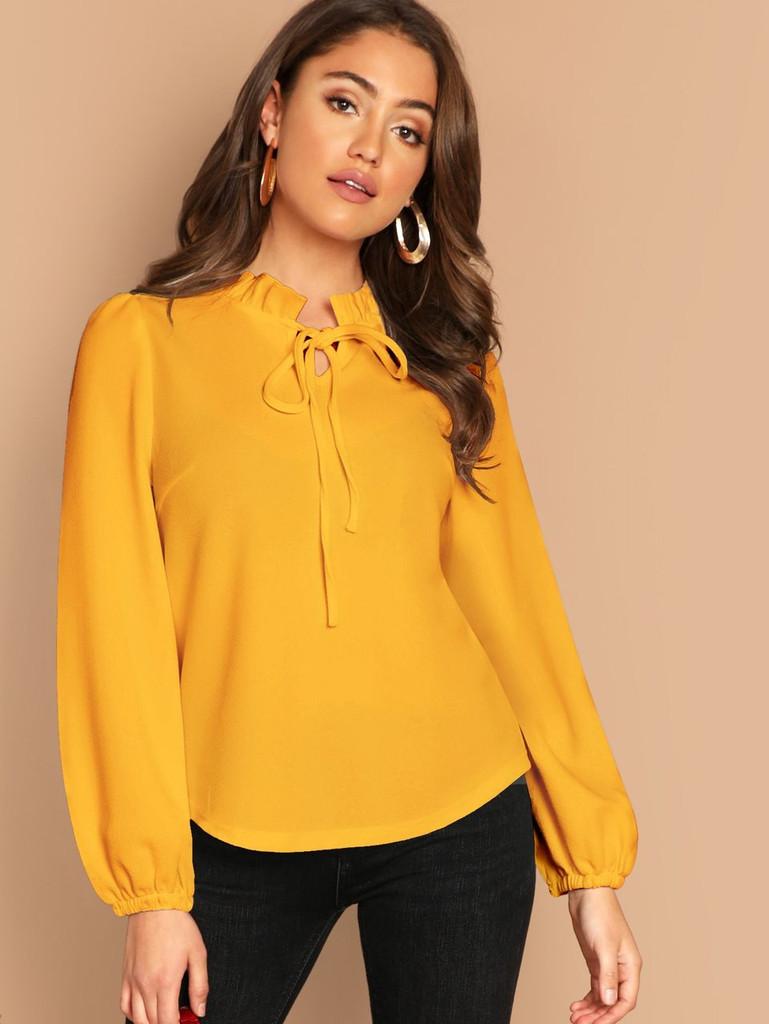 Fifth Avenue Women's UVA1269 Tie Neck Blouse - Yellow