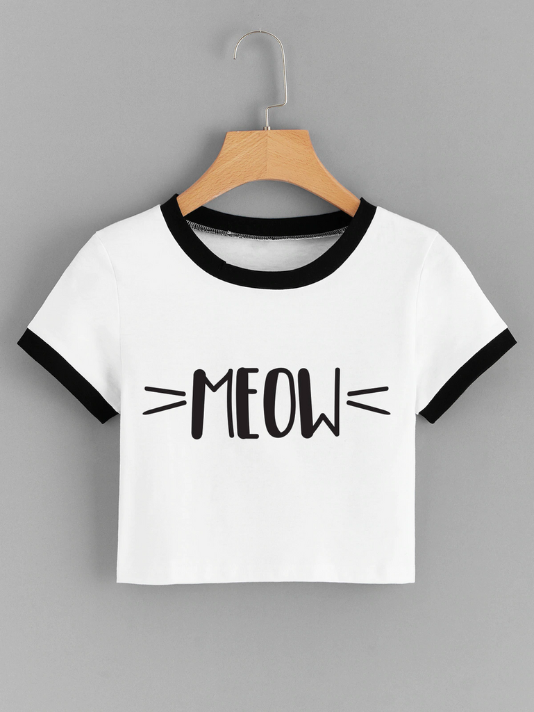 Fifth Avenue Women's STS57 Crop Ringer Meow Whiskers Print T-Shirt - White and Black