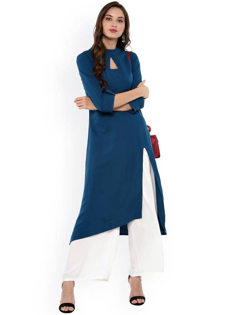 Fifth Avenue Women's UVA1273 Front Slit Lawn Kurti - Blue