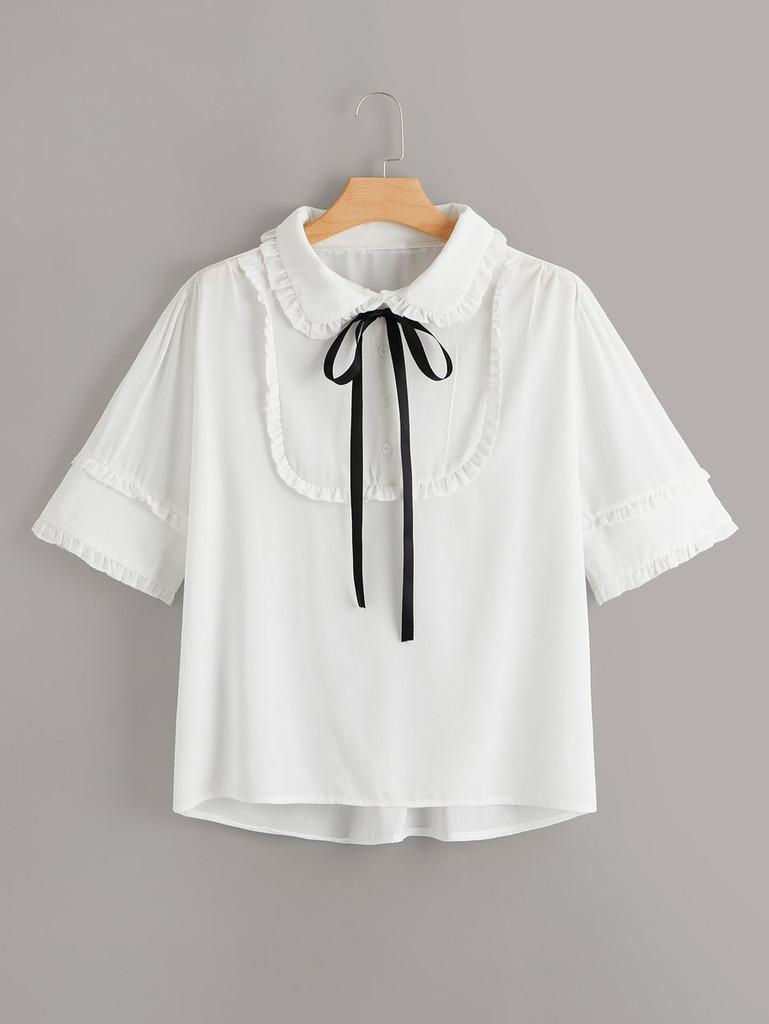 Fifth Avenue Women's UVA1283 Button Up Tie Neck Shirt - White