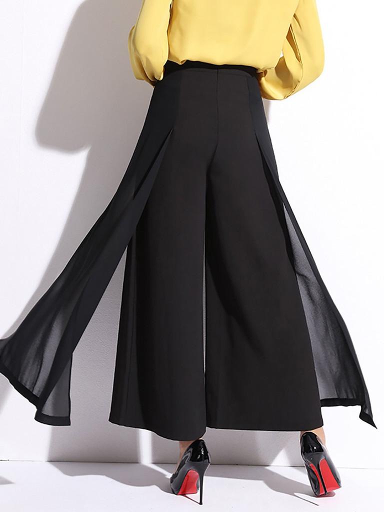 Fifth Avenue Georgette GTTWP9 Chiffon Panel Wide Leg Pants - Black