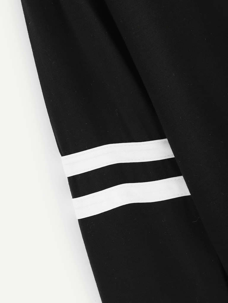 Fifth Avenue Women's STS75 V Neck Sleeve Striped T-Shirt - Black
