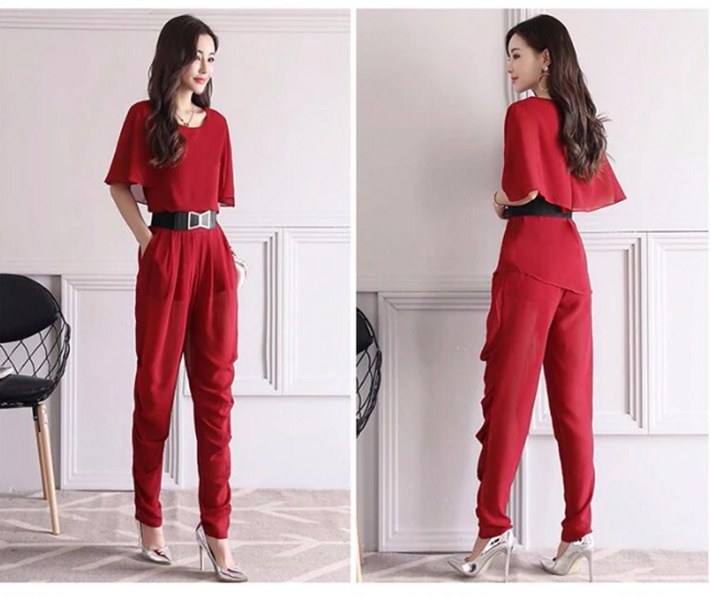 Fifth Avenue Flutter Sleeve Top and Ruched Pants 2 Piece Set TPS124 - Maroon