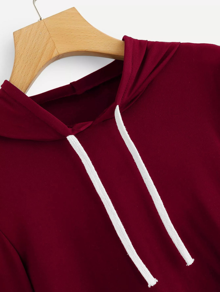 Fifth Avenue Women's STS73 Full Sleeve Striped Hooded T-Shirt - Maroon