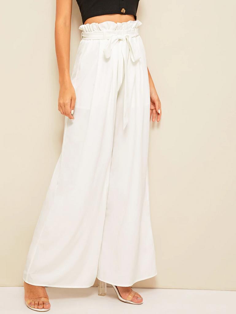 Fifth Avenue Georgette GTTWP13 Self Belted Wide Leg Pants - White