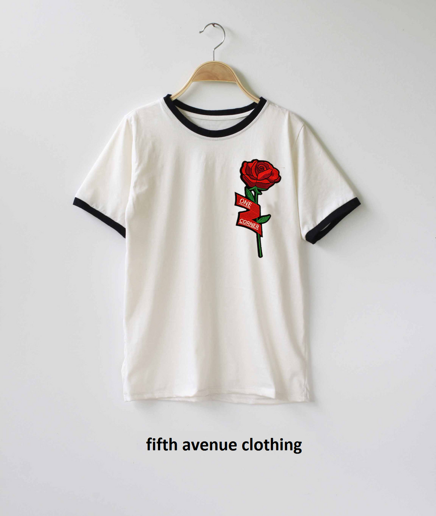 Fifth Avenue RIPZT22 Embroidered Ringer T-Shirt - White and Black