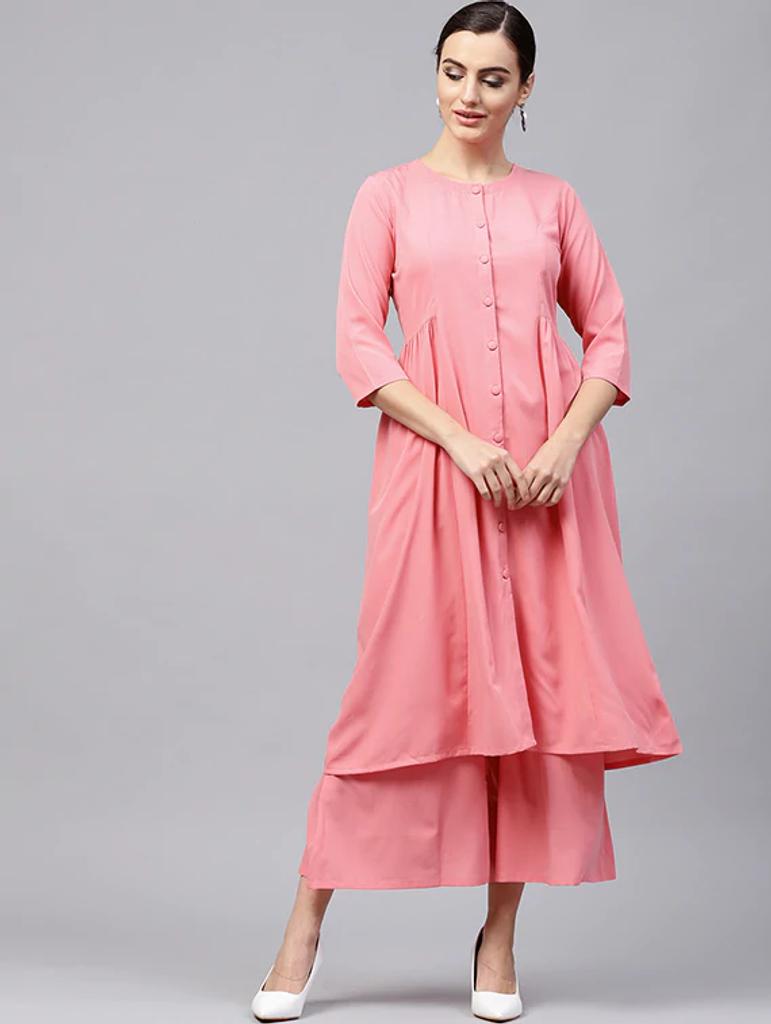 Fifth Avenue Women's TPS191 Button Detail Kurti and Pants Set - Pink
