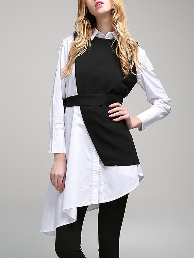 Fifth Avenue Women's UVA1313 Two Layer Collar Tunic - White and Black