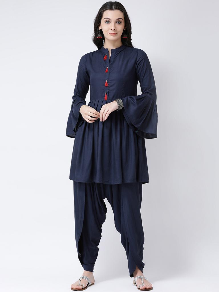 Fifth Avenue Women's TPS230 Tassel Detail Kurti and Dhoti Pants Set - Navy Blue