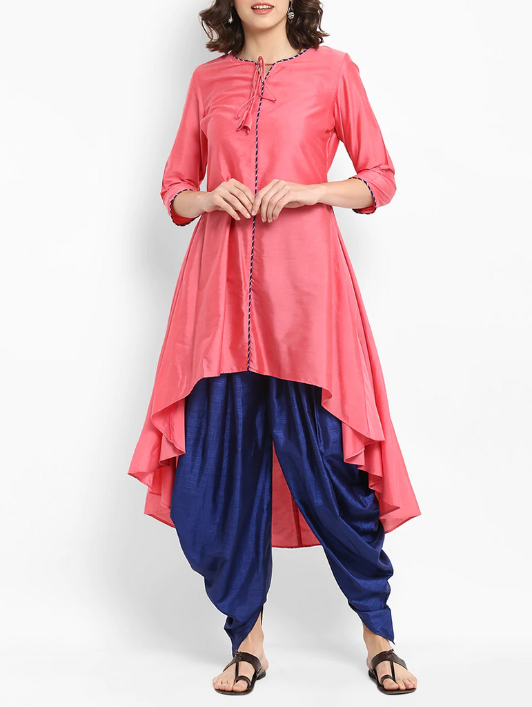 Fifth Avenue Women's TPS238 Lace Detail Kurti and Dhoti Pants Set - Pink and Blue