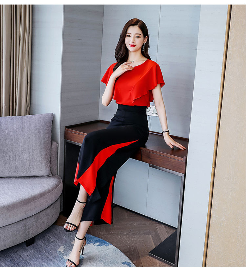 Fifth Avenue Color Block Top and Panel Pants 2 Piece Set TPS179 - Black and Red