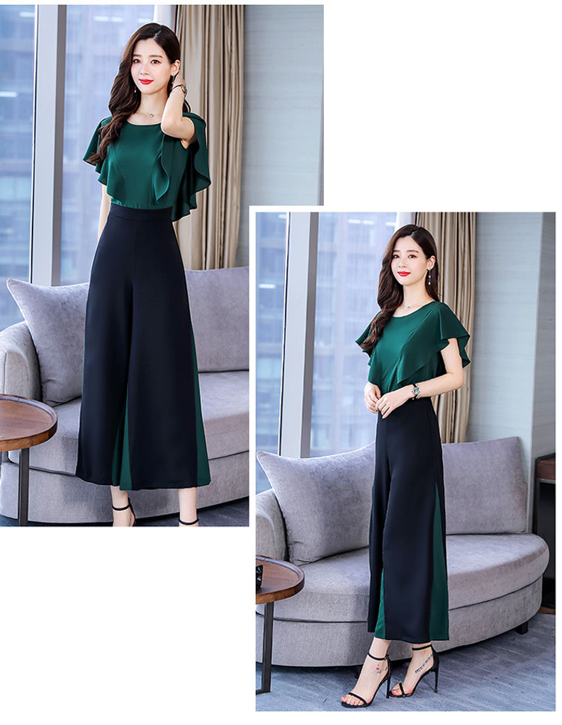 Fifth Avenue Color Block Top and Panel Pants 2 Piece Set TPS179 - Black and Green