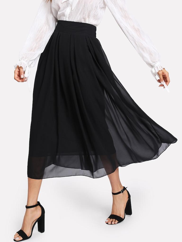 Fifth Avenue Georgette FGS2 Chiffon Overlay Skirt - Black