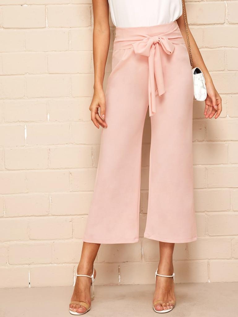 Fifth Avenue GTTWP20 Waist Belted Wide Leg Pants - Pink