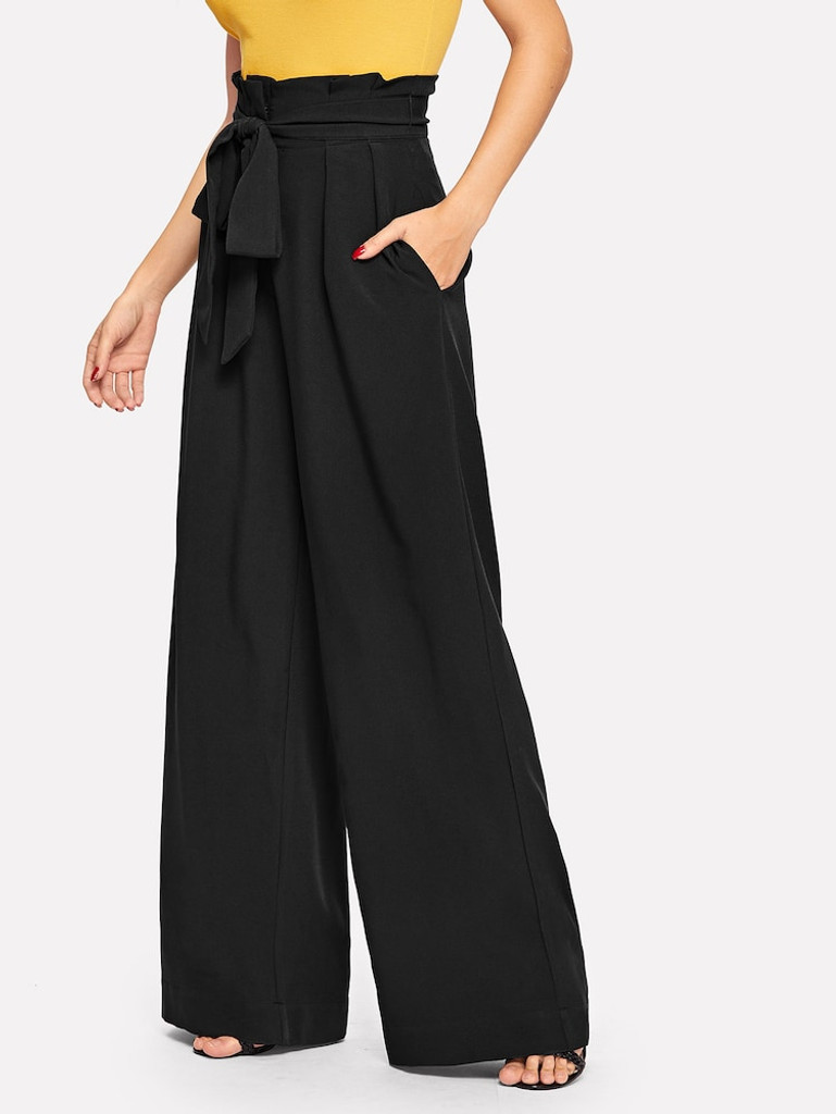 Fifth Avenue Georgette GTTWP17 Self Belted Extra Wide Leg Pants - Black