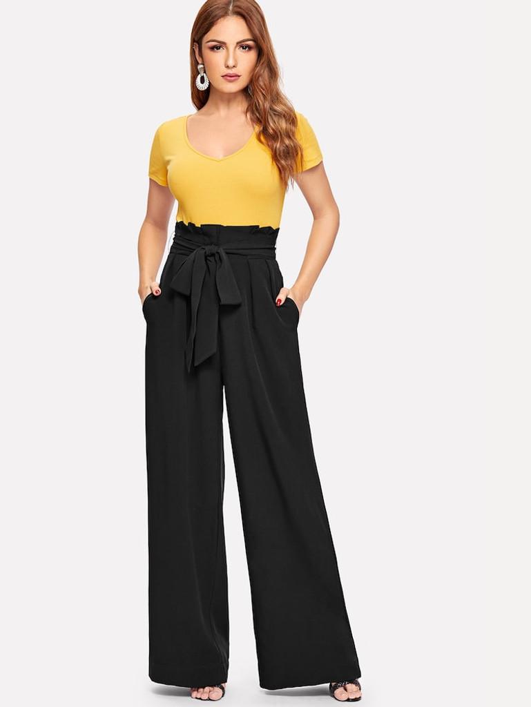 Fifth Avenue Georgette GTTWP17 Self Belted Extra Wide Leg Pants - Black