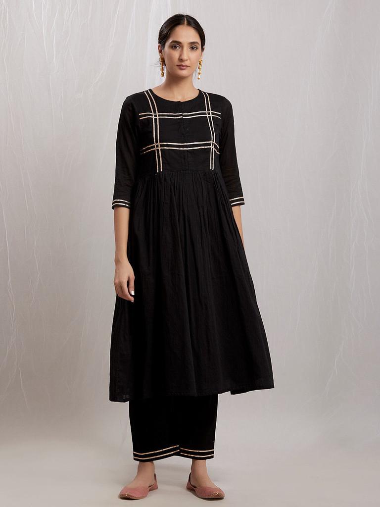 Fifth Avenue Women's TPS278 Lace Stripe Work Kurti and Pants Set - Black