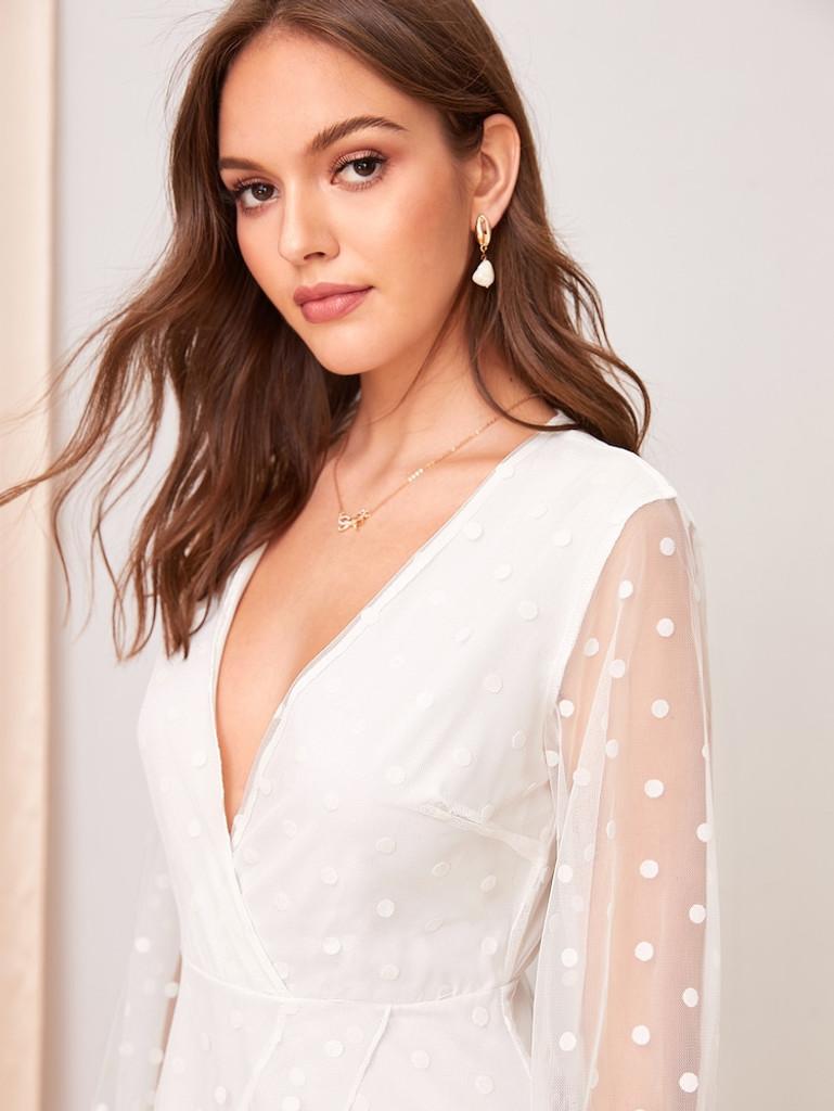 Fifth Avenue Women's UVA1351 Polka Dot Mesh Ovelay Tunic Dress - White