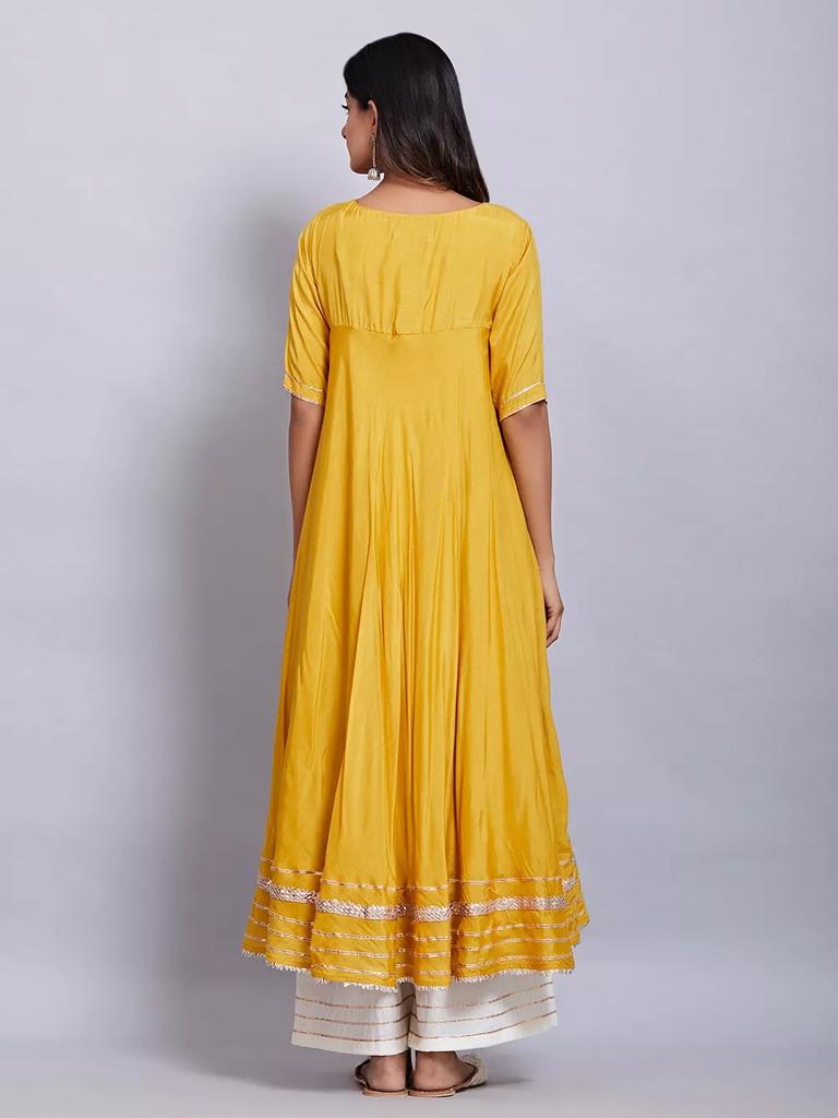 Fifth Avenue Women's TPS288 Lace Detail Kurti and Palazzo Sets - Yellow