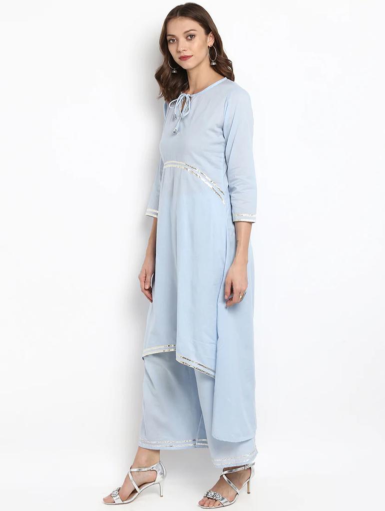 Lemon Tart Clothing Women's LTS11 Lace Detail Kurti and Pants Sets - Light Blue