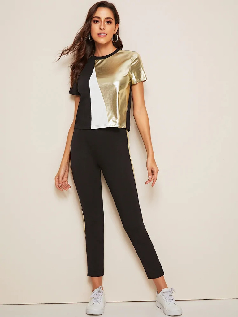 Fifth Avenue Women's TPS306 Color Block Metallic Panel Top and Track Pants 2 Piece Co-Ord Sets - Black and Gold