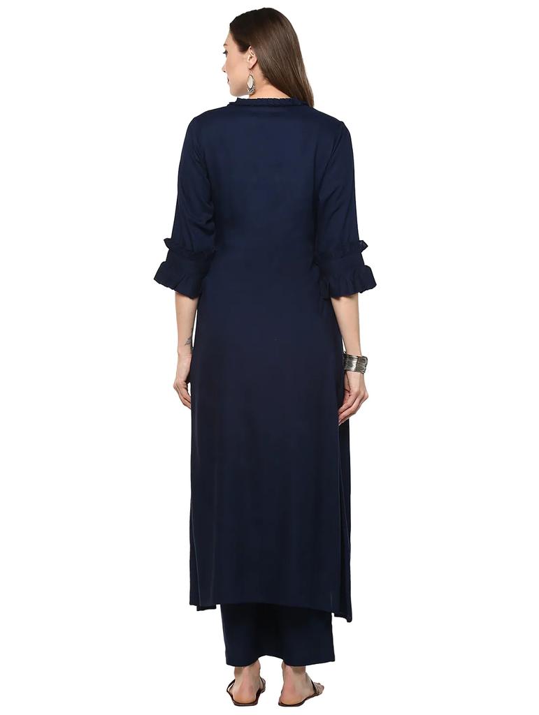 Fifth Avenue Women's TPS310 Ruffle Detail Kurti and Pants Sets - Navy Blue