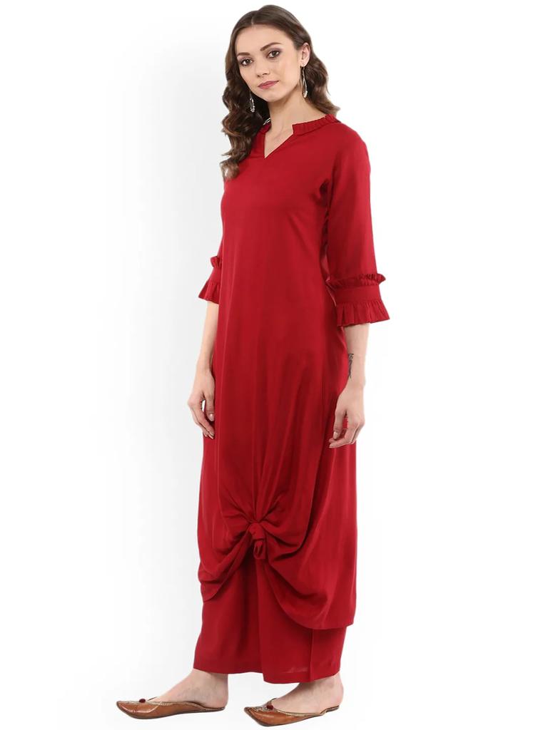 Fifth Avenue Women's TPS310 Ruffle Detail Kurti and Pants Sets - Red