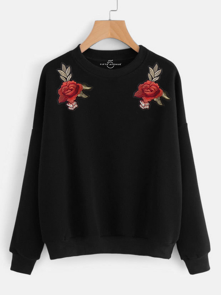 Fifth Avenue RIPZT37 Dual Embroidered Sweatshirt - Black