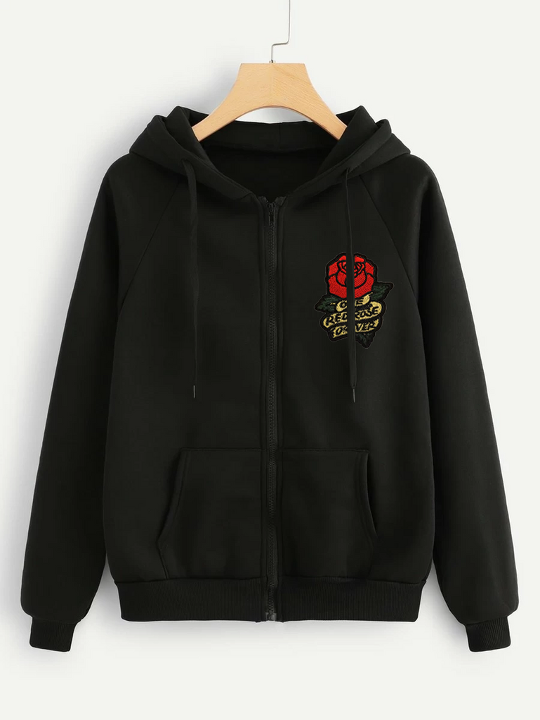 Fifth Avenue RIPZT25 Embroidered Zip Hoodie - Black