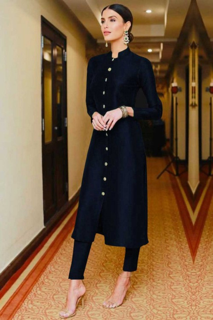 Fifth Avenue Women's TPS426 Blended Silk Kurti and Pants Set - Navy Blue