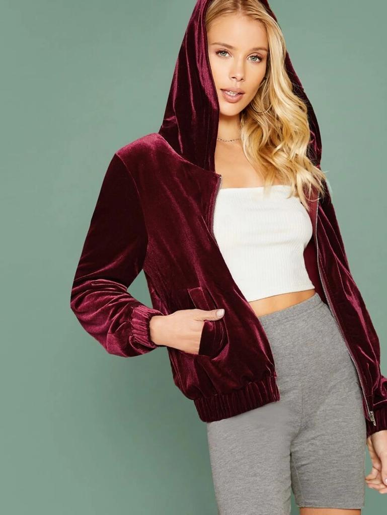 Fifth Avenue Velvet Zip Up Hooded Jacket LNA2036 - Maroon