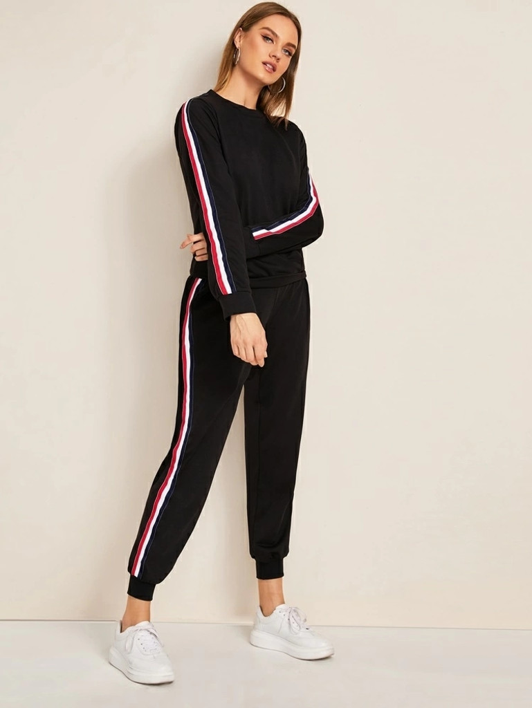 Fifth Avenue Women's TPS475 Nelly Striped Sweatshirt and Jogger Pants 2 Piece Co-Ord Sets - Black