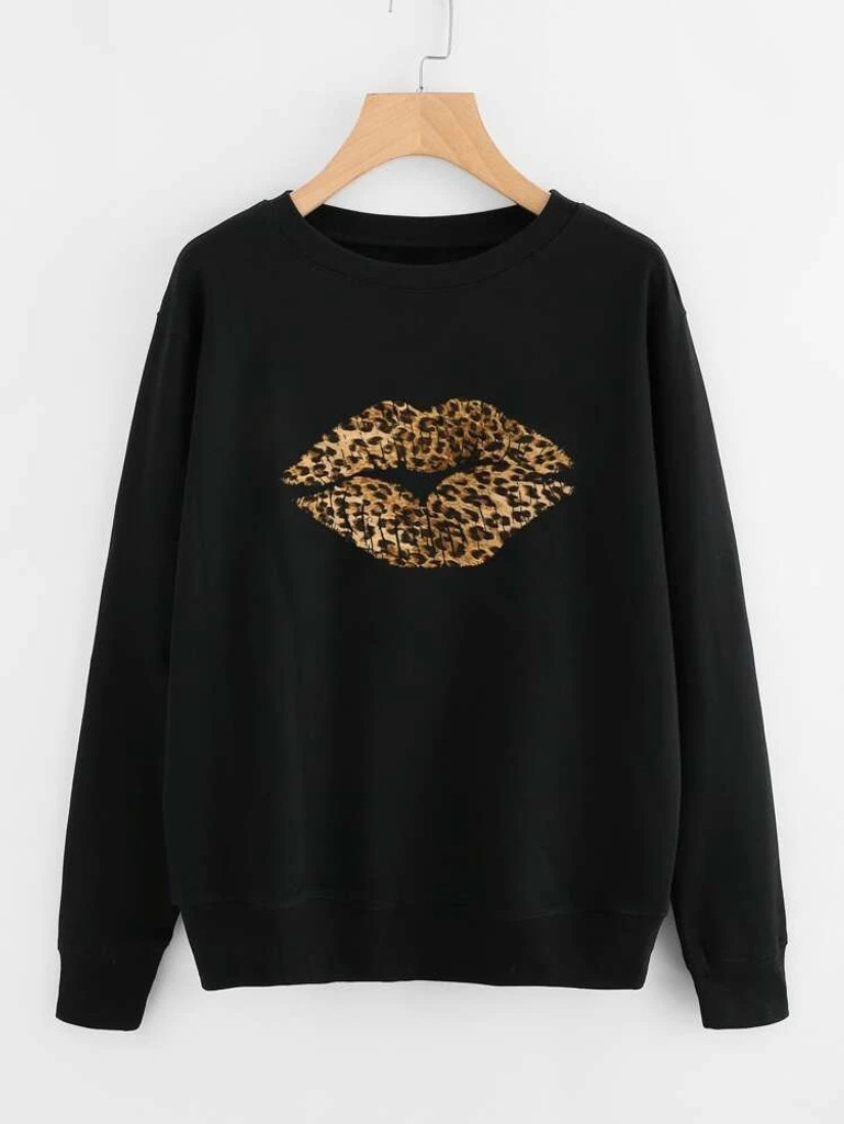 Fifth Avenue DIFT20 Leopard Lip Printed Sweatshirt - Black