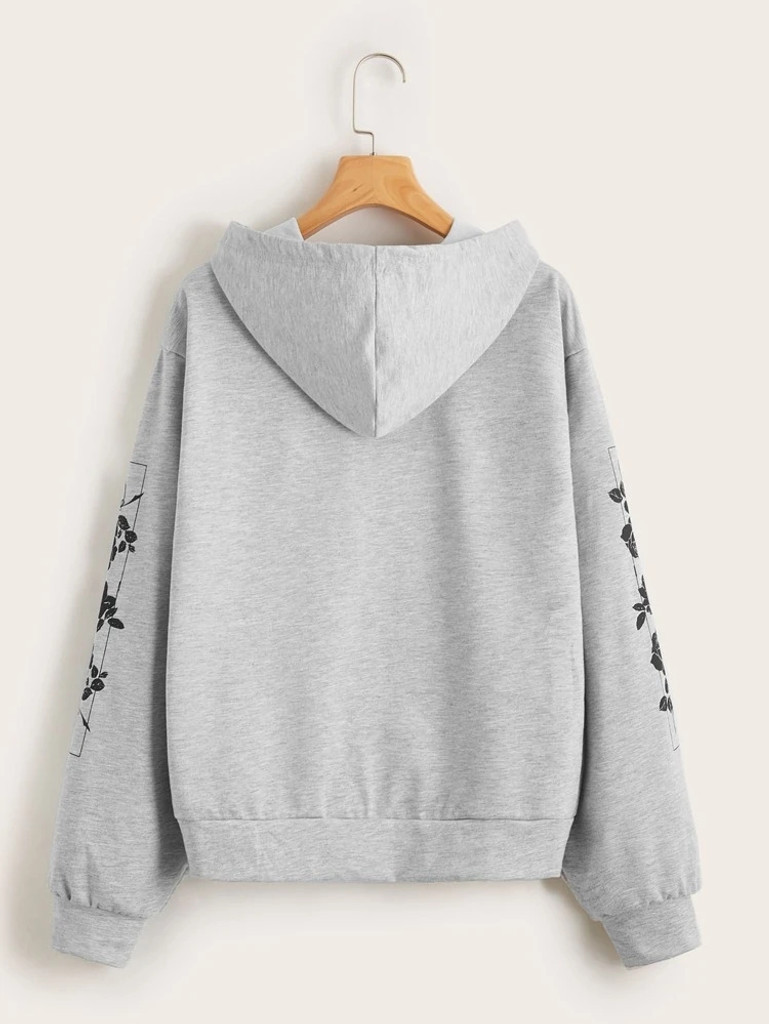 Fifth Avenue DIFT21 Japanese Florals Print Hoodie - Grey