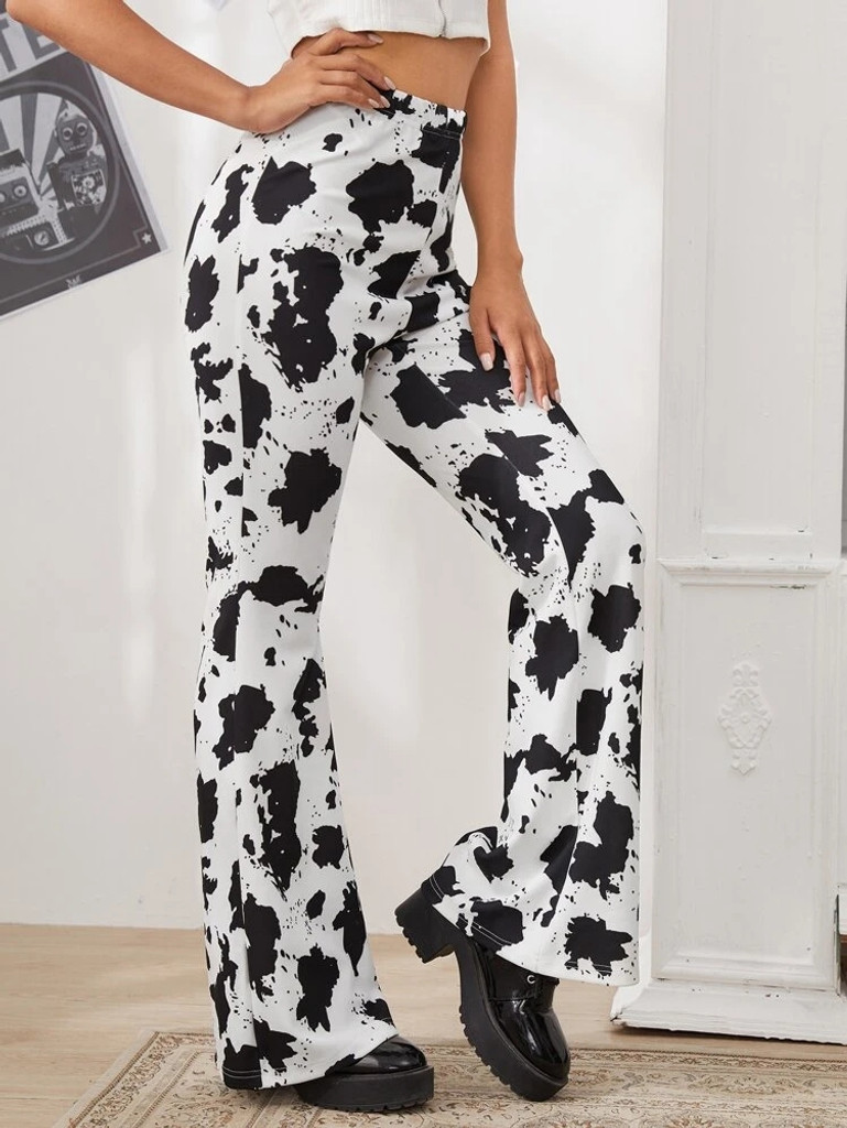 Fifth Avenue Georgette GTTWP31 Cow Print Flared Pants