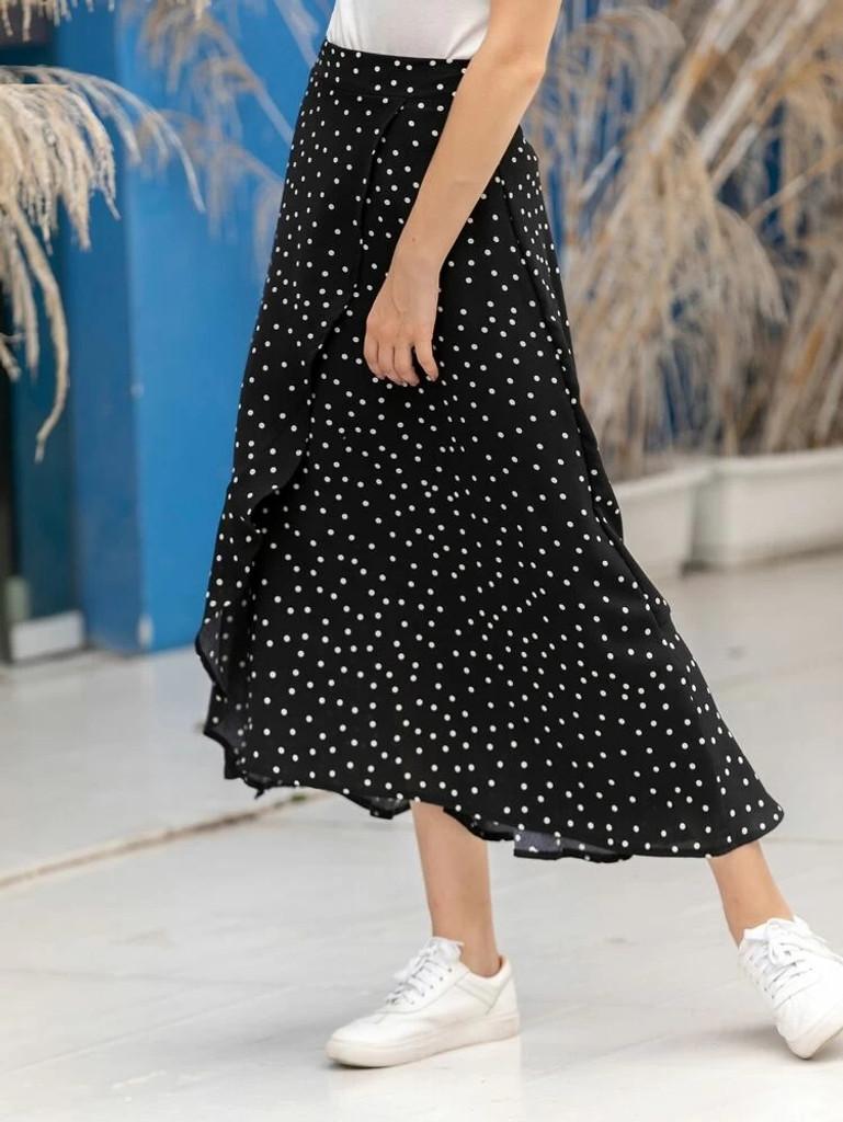 Fifth Avenue Womens Cotton Overlap Detail Polka Print GTSKIR1 Skirt - Black