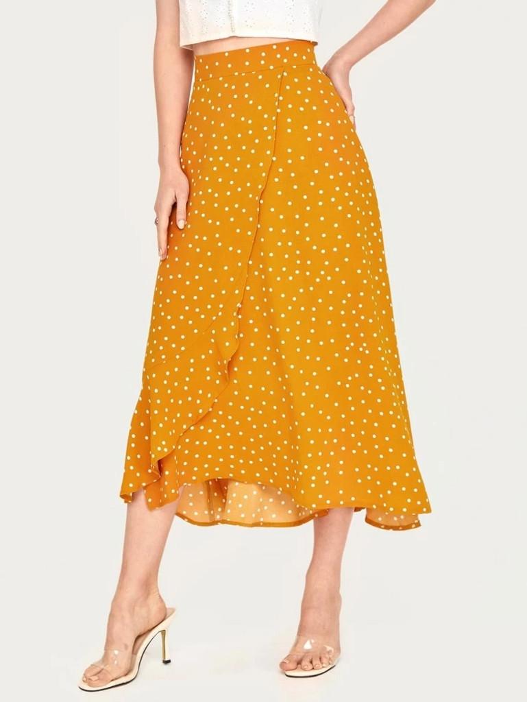 Fifth Avenue Womens Cotton Overlap Detail Polka Print GTSKIR1 Skirt - Yellow