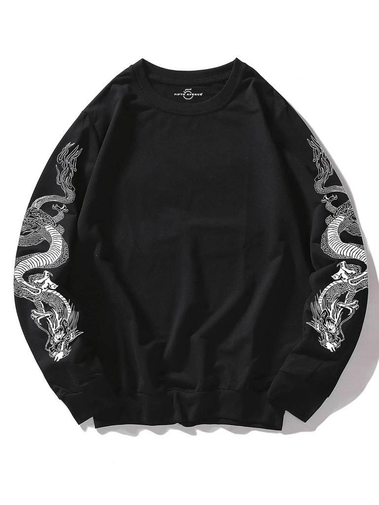 Fifth Avenue Dragon Sleeves DIFT63 Printed Sweatshirt - Black