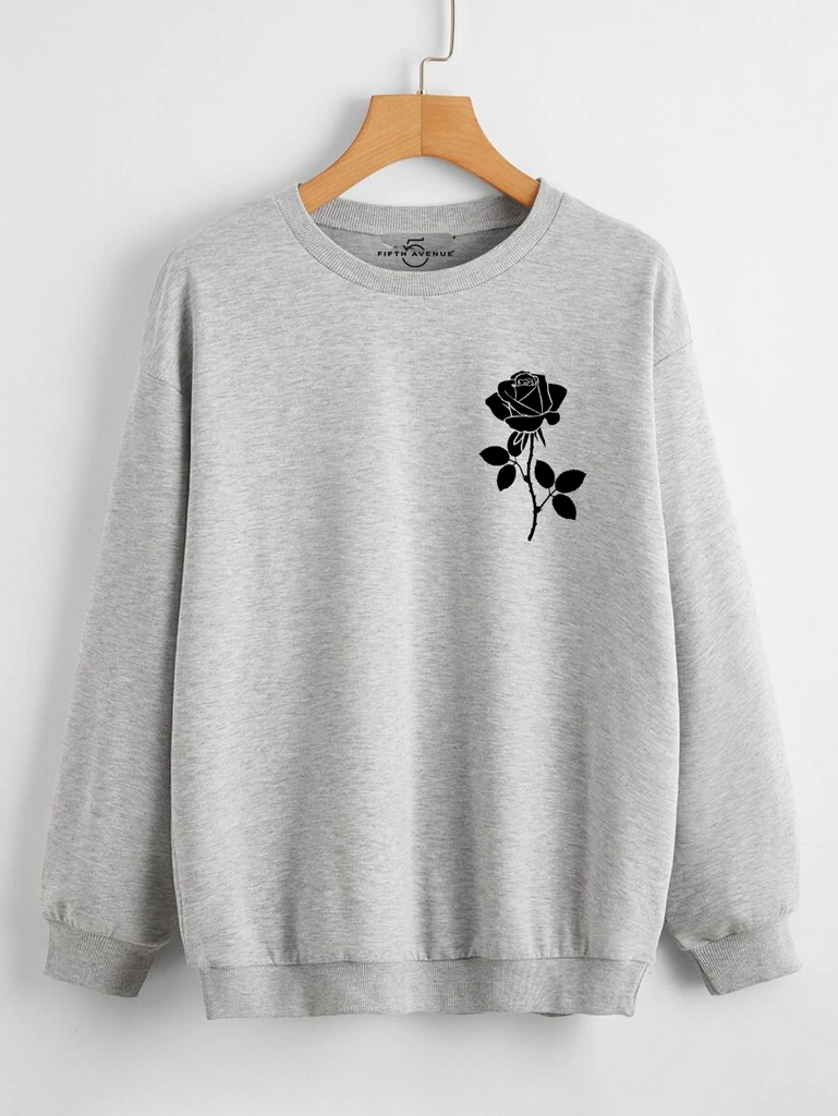 Fifth Avenue DIFT73 Rose Pocket Printed Sweatshirt - Grey