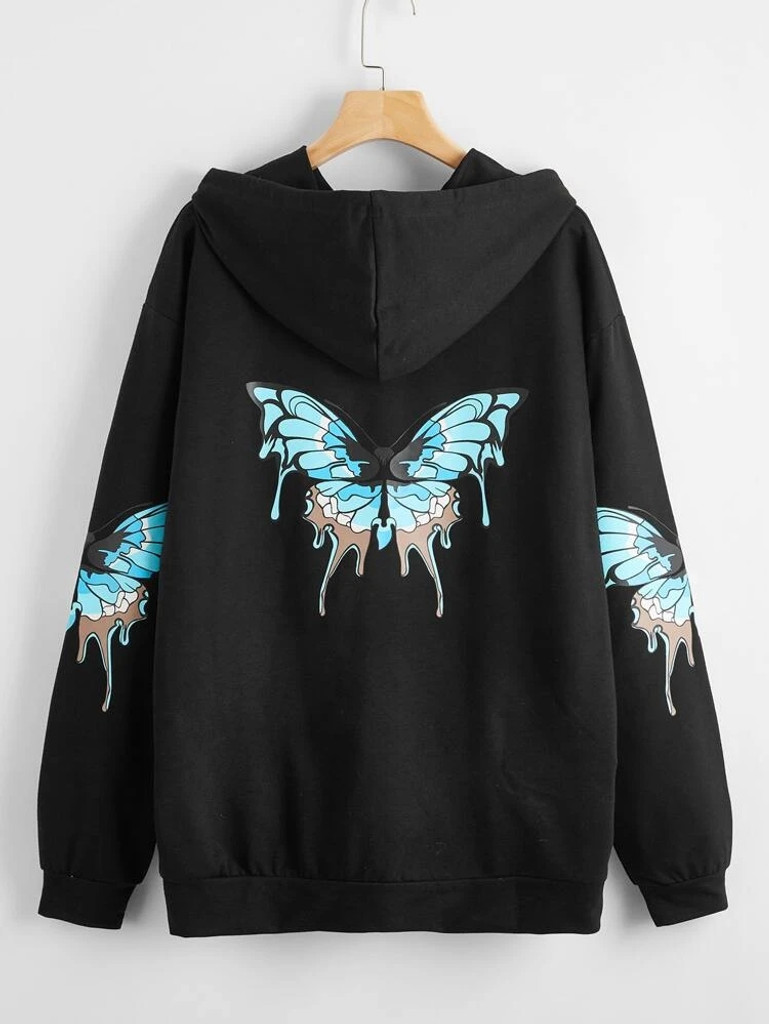 Fifth Avenue DIFT83 Butterfly Print Hoodie - Black