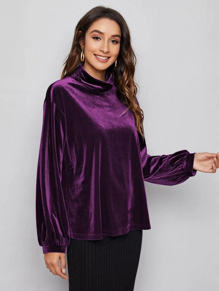 Fifth Avenue Womens High Neck Detail Velvet Stitched Western Top - FAWWT17